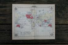 GENUINE AUTHENTIC 1888 WORLD MAP #70901v2