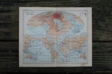 GENUINE AUTHENTIC 1888 WORLD MAP #70900v2