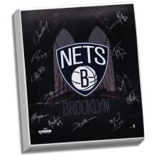 Brooklyn Nets Team Signed 22x26 Brooklyn Bridge Canvas ( 12 Sig) #49438v2