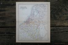 GENUINE AUTHENTIC 1888 MAP OF HOLLAND AND BELGIUM #70908v2
