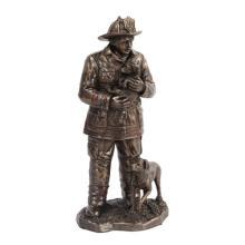 Fireman Rescuing Dog Cold Cast Bronze Statue #71261v2
