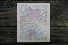 GENUINE AUTHENTIC 1888 MAP OF PAIRS AND VIENNA #70906v2