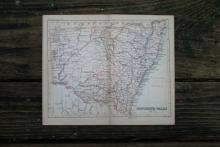 GENUINE AUTHENTIC 1888 MAP OF NEW SOUTH WALES #70892v2