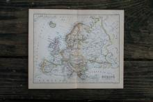 GENUINE AUTHENTIC 1888 MAP OF EUROPE #70904v2