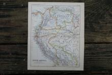 GENUINE AUTHENTIC 1888 MAP OF SOUTH AMERICA #70891v2