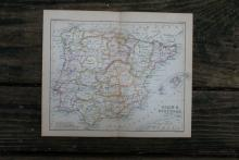 GENUINE AUTHENTIC 1888 MAP OF SPAIN #70910v2