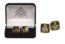 Masonic Square Black and Gold Cufflinks #13236v2