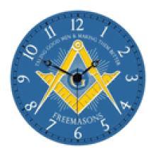 Freemason's Masonic Blue Wall Clock #13232v2