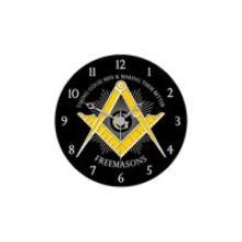 Freemason's Masonic Black Wall Clock #13233v2