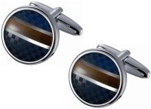 Round Blue Checkered and Golden Amber Striped Stainless #17927v2