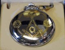Masonic Chrome Finished Pocket Watch #13257v2