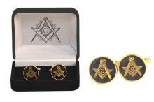 Masonic Black and Gold Square Cufflinks #13235v2