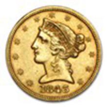 1843 $5 Liberty Gold Half Eagle AU #33784v2