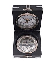 BRASS COMPASS AND CLOCK COMES W/WOODEN CASE #45511v2