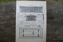 GENUINE VINTAGE 1904 GREEK ARCHITECTURE LITHOGRAPH #71798v2