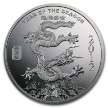2 oz Silver Round - (2012 Year of the Dragon) #21658v3