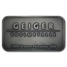 1 kilo Silver Bar - Geiger (Antique Finish/1,000 Gram) #21910v3