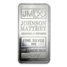 100 oz Silver Bar - Johnson Matthey (Pressed) #21908v3