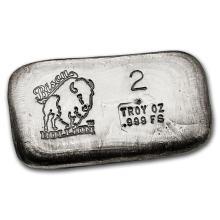 2 oz Silver Bar - Bison Bullion #21818v3