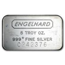 5 oz Silver Bar - Engelhard (Struck, Logo Reverse) #21926v3