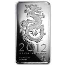 10 oz Silver Bar - 2012 Year of the Dragon #21915v3