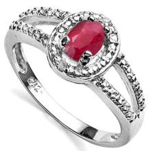 0.565 CTW AFRICAN RUBY & GENUINE DIAMOND PLATINUM PLATED .925 STERLING SILVER RING #99802v2