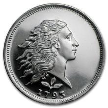 1/2 oz Silver Round - Flowing Hair #21645v3
