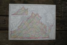 GENUINE 1912 MAP OF VIRGINIA #70650v2