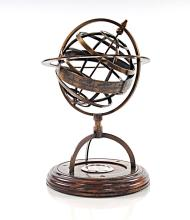 BRASS ARMILLARY W/COMPASS ON WOODEN BASE #45528v2