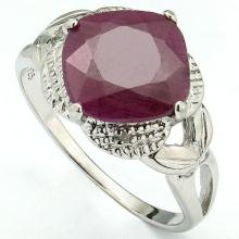 GENUINE 4.49 CTW RUBY AND DIAMOND RING IN PLATINUM PLATED .925 STERLING SILVER #71341v2