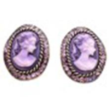 Amethyst Crystals Cameo Antique Purple Framed Cameo Portrait Earrings #75861v2