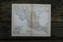 GENUINE AUTHENTIC 1888 MAP OF MEXICO #70885v2