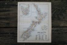 GENUINE AUTHENTIC 1888 MAP OF NEW ZEALAND #70896v2