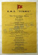 R.M.S TITANIC MENU REPLICA #27262v2