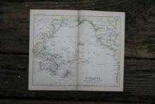 GENUINE AUTHENTIC 1888 MAP OF PACIFIC OCEAN #70889v2