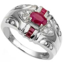GENUINE 0.80 CTW RUBY AND DIAMOND RING IN PLATINUM PLATED .925 STERLING SILVER #71322v2