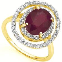 GENUINE 3.29 CTW RUBY AND DIAMOND RING IN SOLID 18K YELLOW GOLD #71303v2