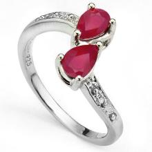 GENUINE 1.19 CTW RUBY AND DIAMOND RING IN PLATINUM PLATED .925 STERLING SILVER #71304v2