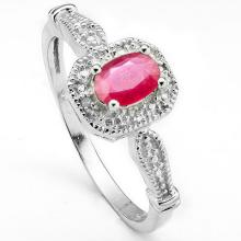 GENUINE .53 CTW RUBY AND DIAMOND RING IN PLATINUM PLATED .925 STERLING SILVER #71317v2