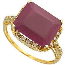 GENUINE 6.00 CTW RUBY AND DIAMOND RING IN SOLID 10K YELLOW GOLD #71321v2