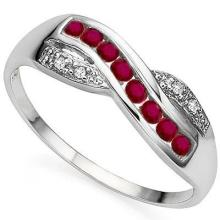 GENUINE .39 CTW RUBY AND DIAMOND RING IN PLATINUM PLATED .925 STERLING SILVER #71312v2