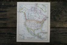 GENUINE AUTHENTIC 1888 MAP OF NORTH AMERICA #70874v2