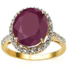 GENIUNE 6.28 CTW RUBY AND DIMONND RING IN SOLID 10K YELLOW GOLD #71309v2