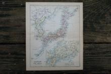 GENUINE AUTHENTIC 1888 MAP OF JAPAN AND KOREA #70873v2