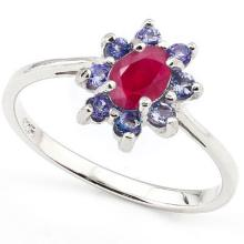 GENUINE 0.85 CTW TANZANITE AND RUBY RING IN .925 STERLING SILVER #71290v2