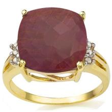 GENUINE 9.04 CTW RUBY AND DIAMOND RING IN SOLID 10K YELLOW GOLD #71329v2
