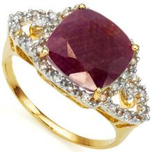 GENUINE 4.04 CTW RUBY AND DIAMOND RING IN SOLID 10K YELLOW GOLD #71308v2