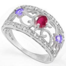 GENUINE .76 CTW RUBY AND TANZANITE RING PLATINUM PLATED .925 STERLING SILVER #71319v2