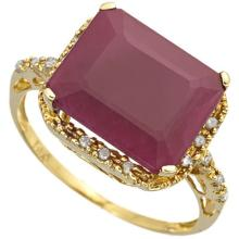 GENUINE 6.00 CTW RUBY AND DIAMOND RING IN SOLID 18K YELLOW GOLD #71328v2