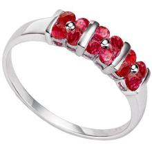GENUINE .64 CTW RUBY RING IN PLATINUM PLATED .925 STERLING SILVER #71325v2